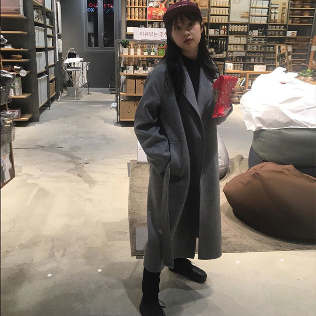[김보라] MUSÉE Manet Wool cashmere blended coat - gray