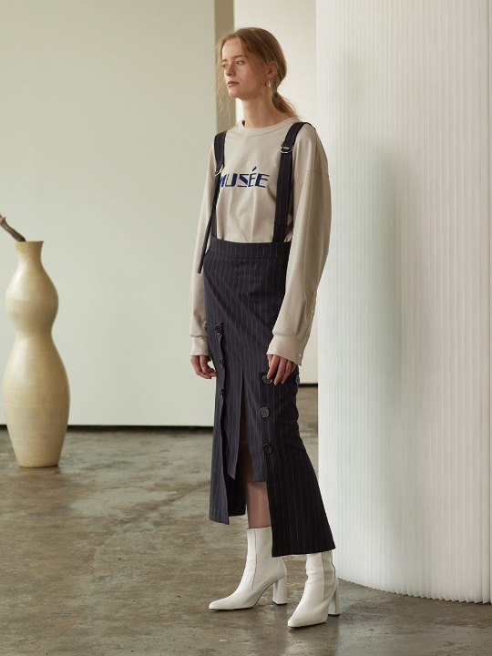 [이다희, 김설희 착용] Vueno Unbalance Hem Stripe Dress_Navy Stripe