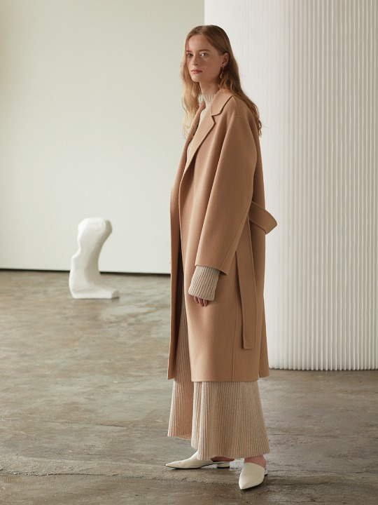 Manet Cashmere Blended Wool Coat_Creamy Camel