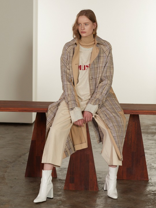 Bruxelle Oversized Check Trench Coat_Beige Check