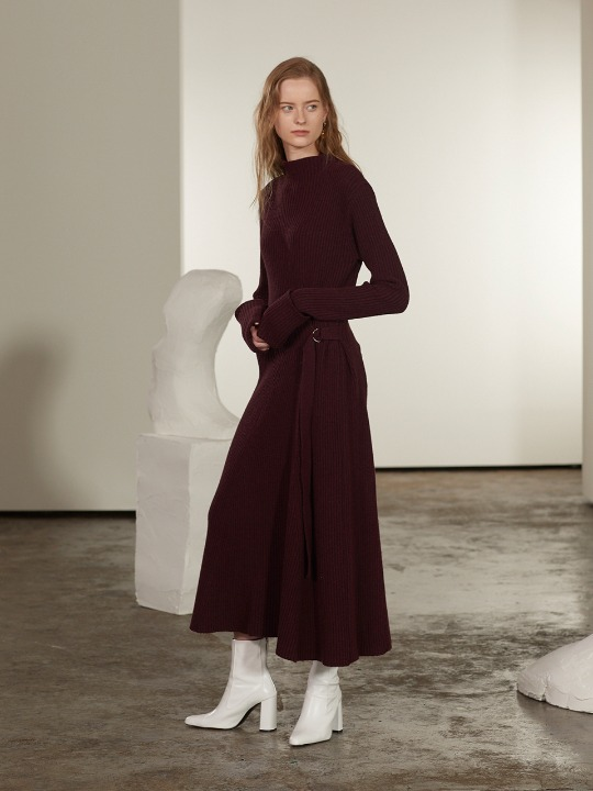 Monet Cashmere Long Knit Dress_Burgundy