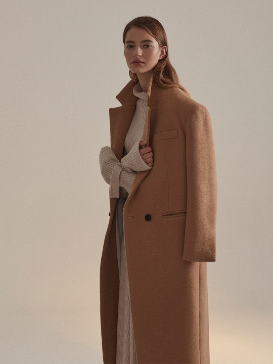 Roi Cashmere Blend Oversized Long Coat_Camel