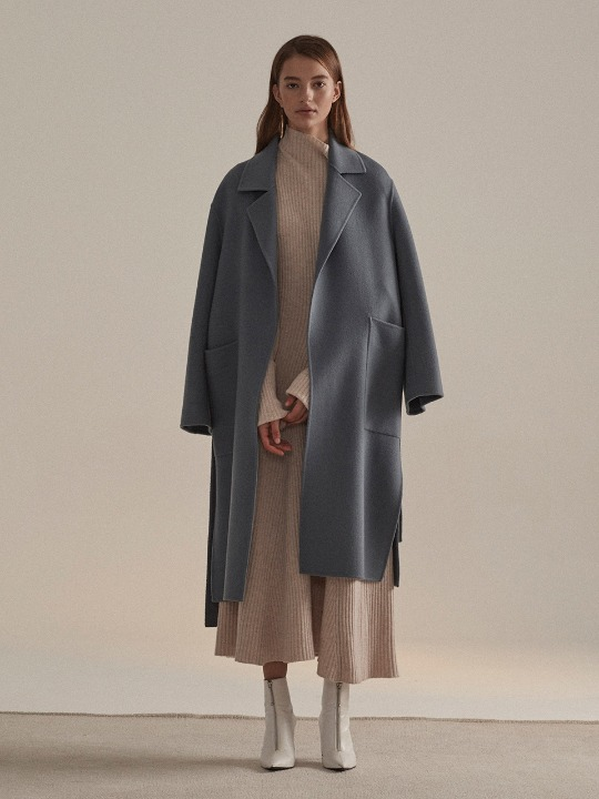 Reine Cashmere Blend Reversible Coat_Monaco Blue