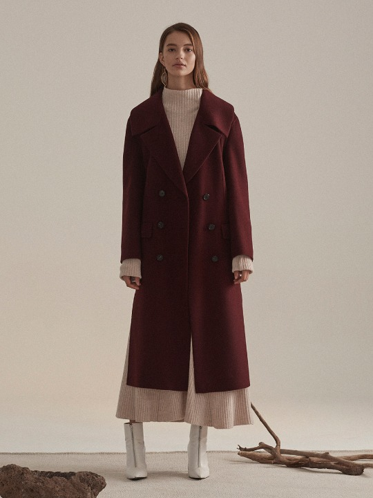Daian Cashmere blend Wool Coat_Burgundy