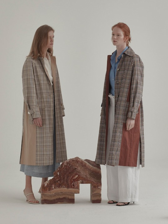Bruxelle Oversized Check Trench Coat_Brick Check
