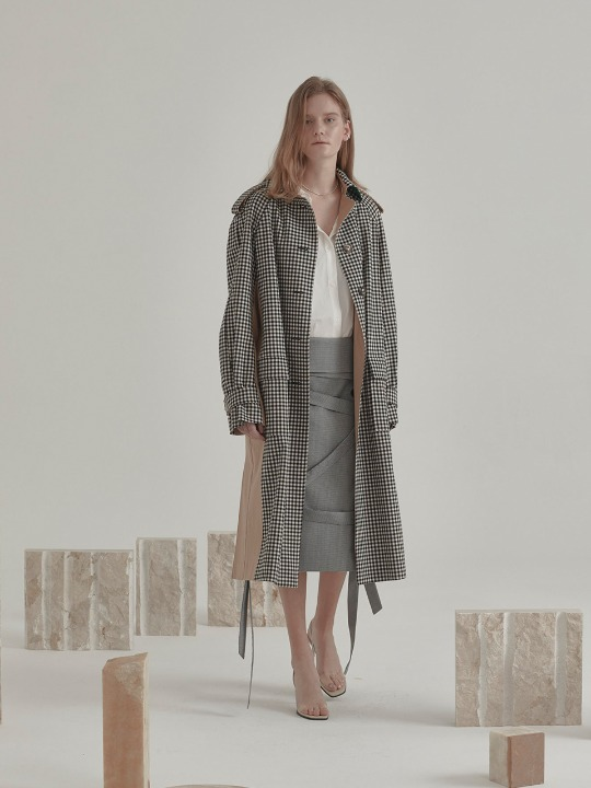 [고아라 착용] Bruxelle Oversized Check Trench Coat_Gingham Check