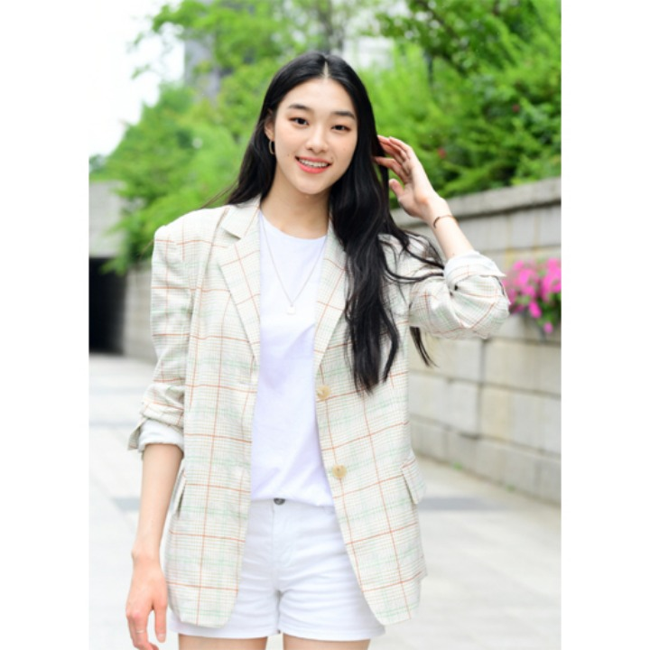 [김설희] Moulin Classic Single Jacket_Beige Check