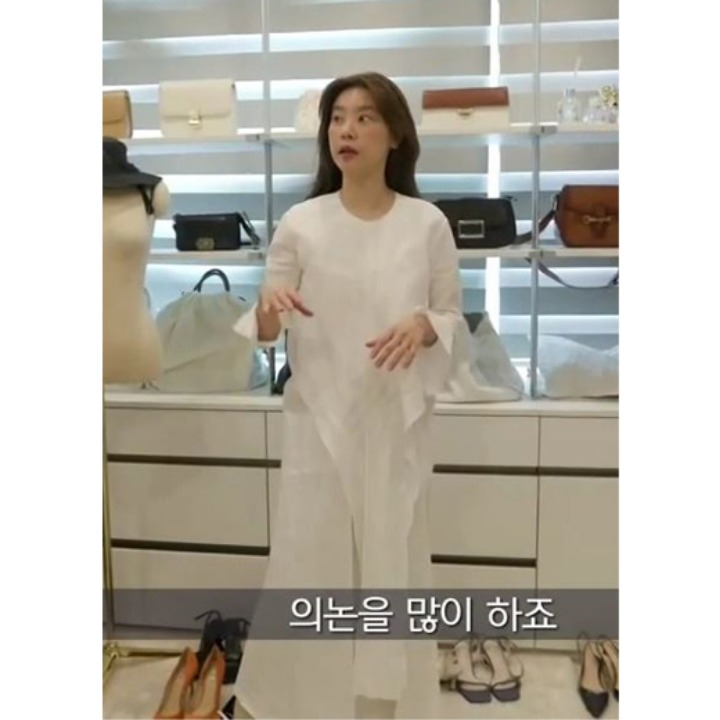 [걸스데이 소진] Robe Drape Linen Dress_Off White