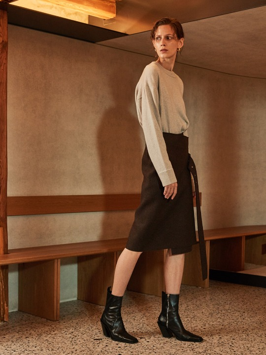 NOBILE Wool Wrap Skirt_ Brown