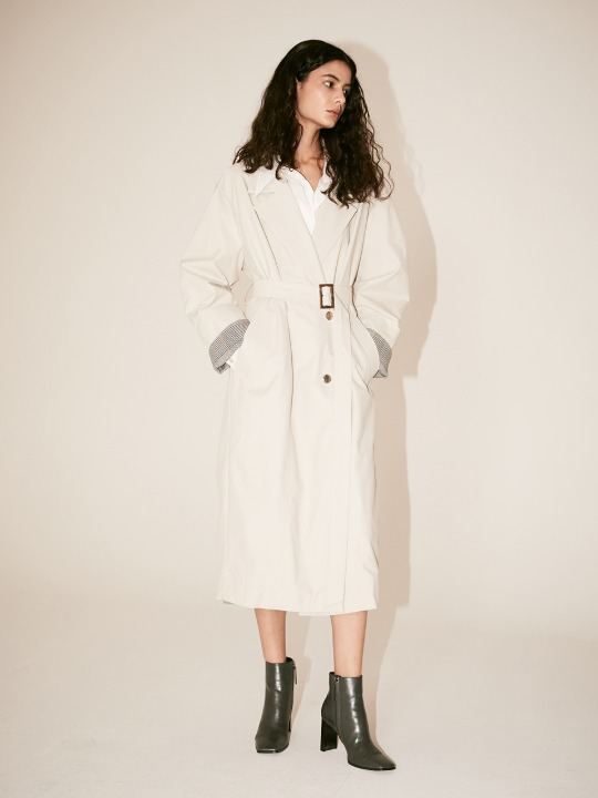[Fabric From ITALY] LE MUSEE_IEY Volume Sleeve Belted Trench Coat_Light Gray