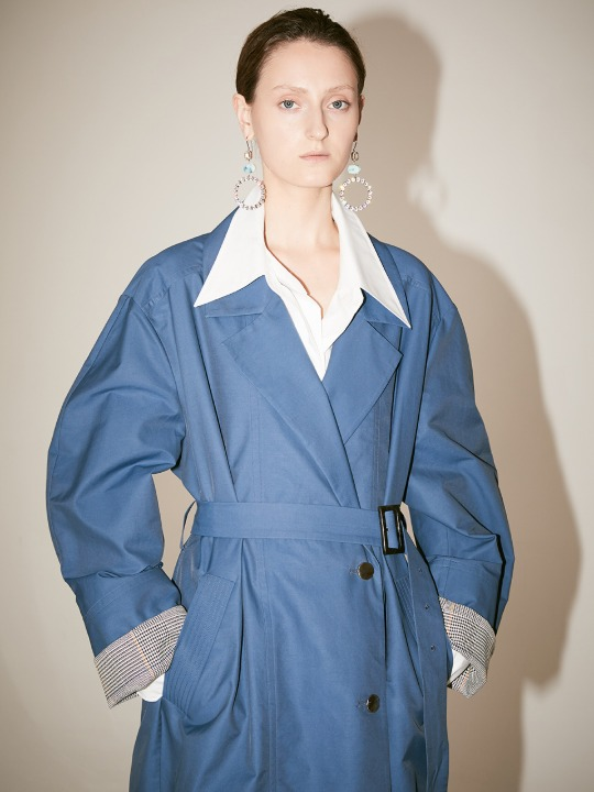 [Fabric From ITALY] LE MUSEE_IEY Volume Sleeve Belted Trench Coat__Blue