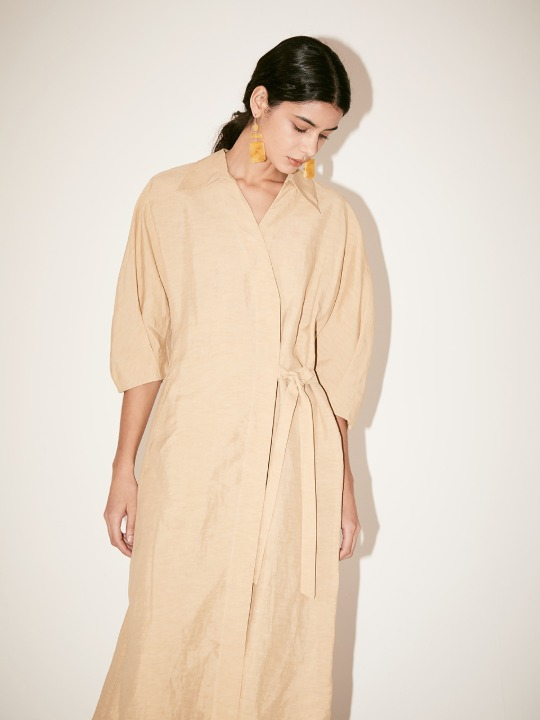 [Signature] LOUIE Belted Wrap One-Piece_Sand Beige