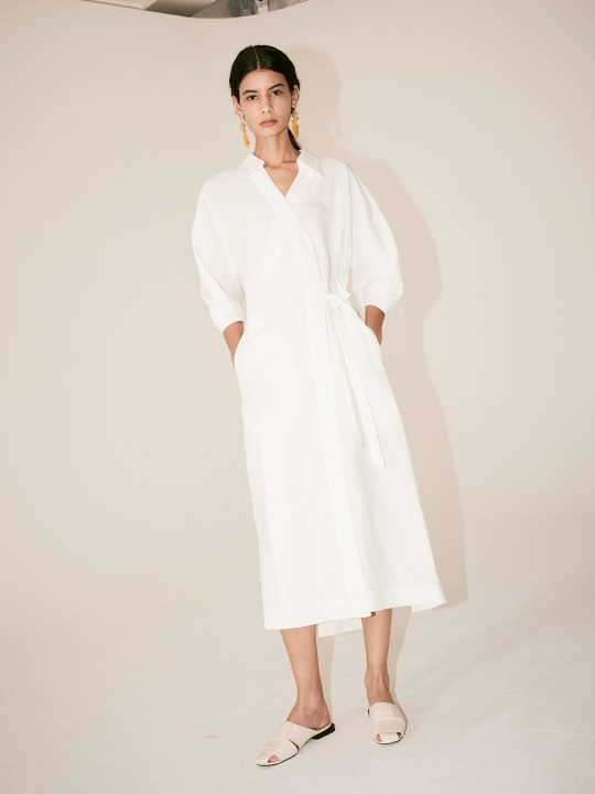 [Signature] LOUIE Belted Wrap One-Piece_Off White