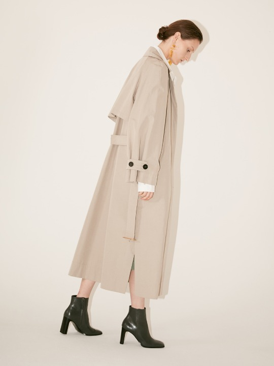 [Fabric From ITALY] LE MUSEE_NEUF Oversized Belted Trench Coat_Light Gray