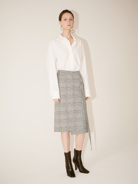 [Fabric From PORTUGAL] DAU Check Pattern Wrap Belted Skirt_Check