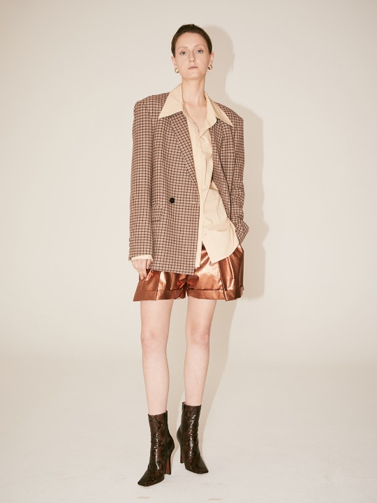 [Fabric From PORTUGAL] GAU Loose Fit Jacket_Beige Check