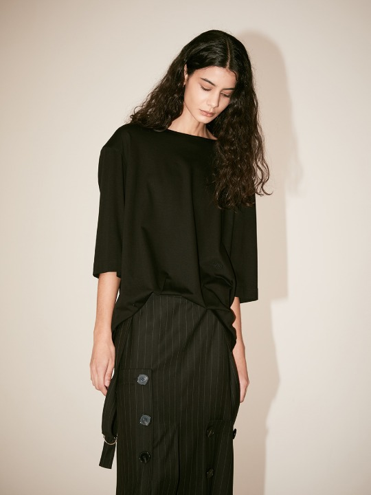[Supima Silk Cotton] LMIER Shoulder Padded Silk Jersey Top_Black